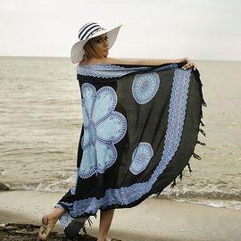 Плажен Шал в Черно и Синьо с Орнаменти