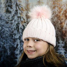Бледо Розова Детска Зимна Шапка за Момичета