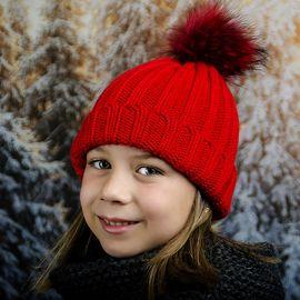 Червена Детска Зимна Шапка за Момичета