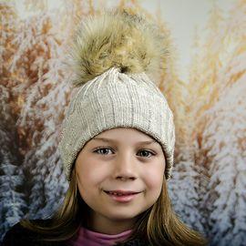 Бежова Зимна Плетена Шапка за Момичета
