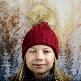Зимна Плетена Шапка за Момичета Бордо