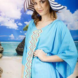 Плажна Туника в Светло Синьо с Пискюли