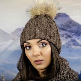 Дамска Зимна Шапка Плетена в Кафяво