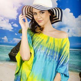 Плажна Туника в Жълто-Сини Цветове