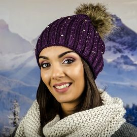 Дамска Зимна Плетена Шапка Еко Помпон в Лилаво