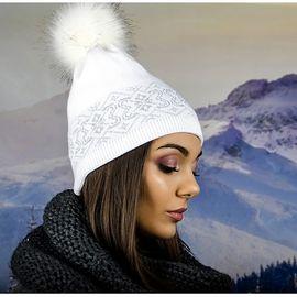 Бяла Зимна Дамска Шапка