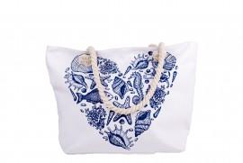 Плажна чанта Бяла Морски Елементи Сърце