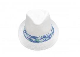Бяло Бомбе с лента сини цветя