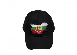 Шапка Черна с Козирка България Герб