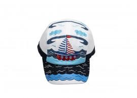 Тъмно синя Детска шапка с козирка с корабче