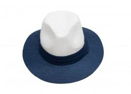 Мъжка Лятна Шапка в Бяло и синьо със Синя лента