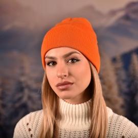 Оранжева Изчистена Плетена Шапка