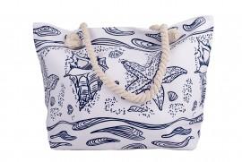 Плажна Чанта Бяла със Сини Морски Елементи