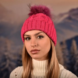 Дамска зимна плетена шапка Циклама