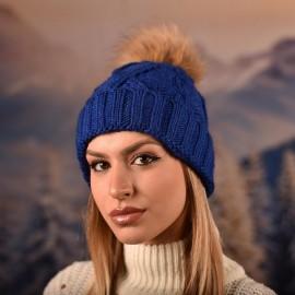 Дамска зимна плетена шапка Синя